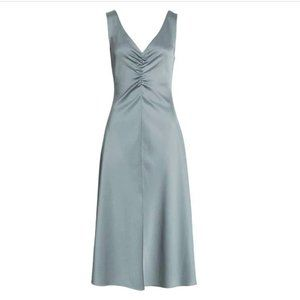 NWT Vince Double Ruched V-Neck Sleeveless Dress L